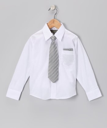 White & Black Shirt Set - Infant, Toddler & Boys