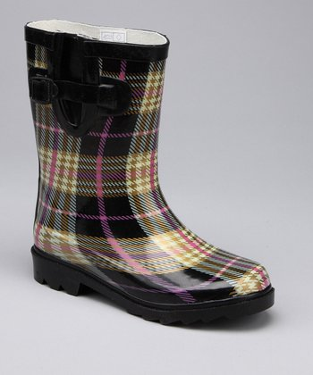 Yellow Plaid Rain Boot