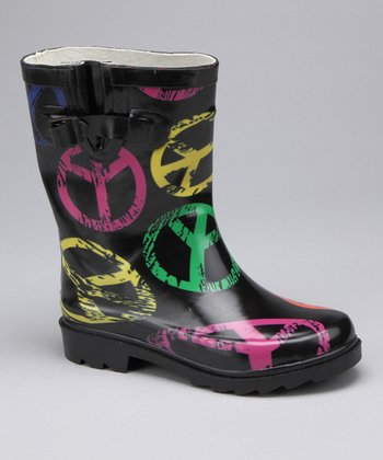 Black Peace Sign Rain Boot