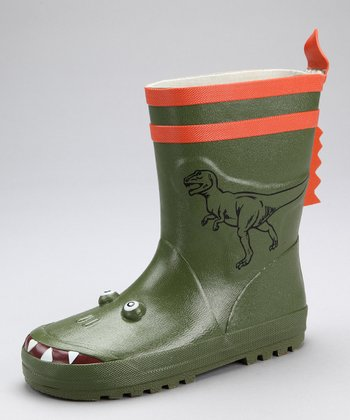 Green & Orange Dinosaur Rain Boot