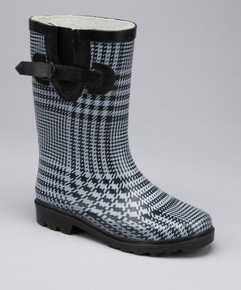 Black Plaid Rain Boot