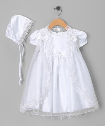 White Bow Baptism Dress Set - Infant