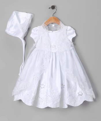 White Sequin Flower Garden Baptism Dress Set - Infant