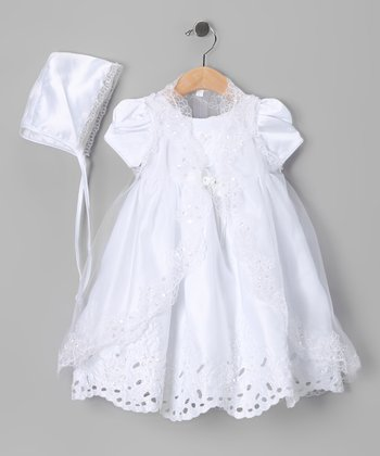 White Sparkle Baptism Dress Set - Infant
