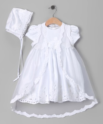 White Floral Baptism Dress Set - Infant