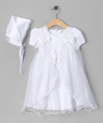 White Foliage & Bow Baptism Dress Set - Infant