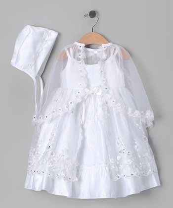 White Sequin Floral Baptism Dress Set