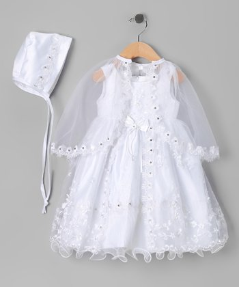 White Beaded Bow Baptism Dress Set - Infant