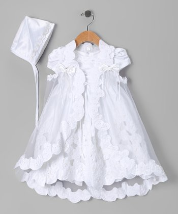 White Baptism Cape Set - Infant