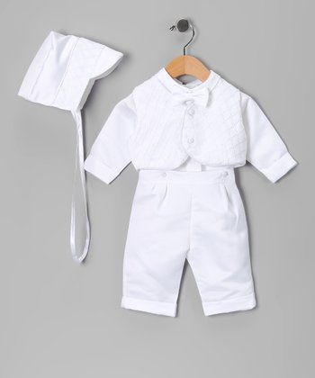 White Diagonal Baptism Vest Set - Infant