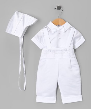 White Baptism Suspender Pants Set - Infant