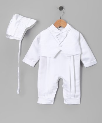 White Baptism Pleated Pants Set - Infant
