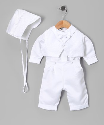 White Baptism Pleated Shorts Set - Infant