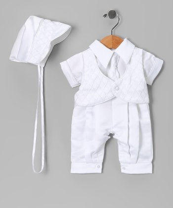 White Baptism Cuffed Pants Set - Infant