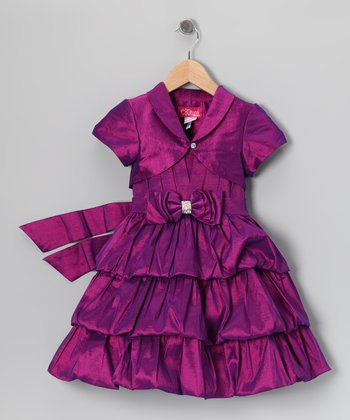 Purple Bow Tiered Dress & Shrug