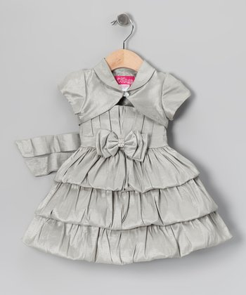 Silver Bow Tiered Dress & Shrug