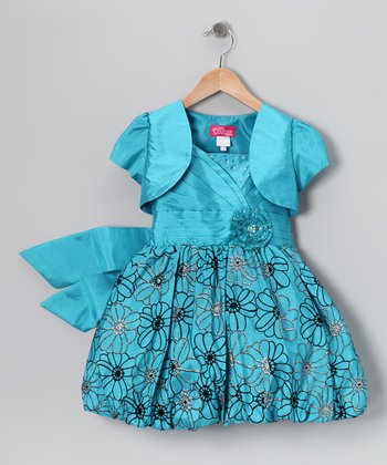 Turquoise Floral Bubble Dress & Shrug