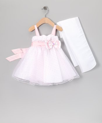 Pink Polka Dot Dress & Shawl - Infant, Toddler & Girls