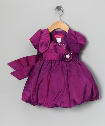 Purple Rhinestone Bubble Dress & Shrug