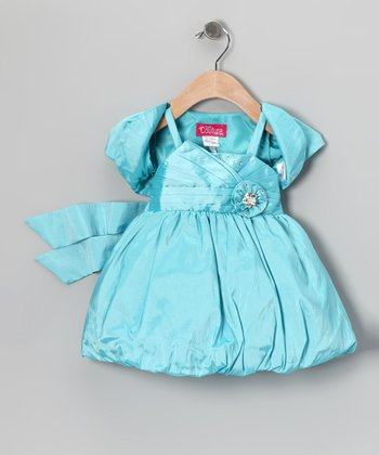 Turquoise Rhinestone Bubble Dress & Shrug