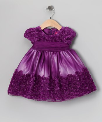 Purple Dip-Dye Rosette Dress