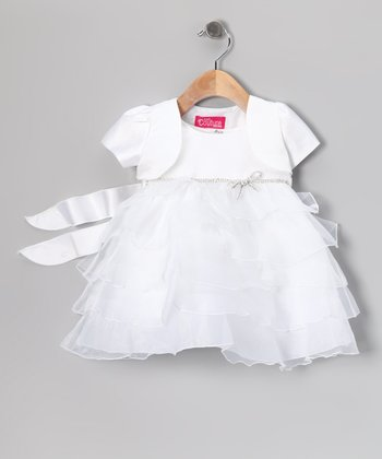 White Tiered Ruffle Dress & Shrug