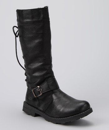 Black Laced Slouch Boot