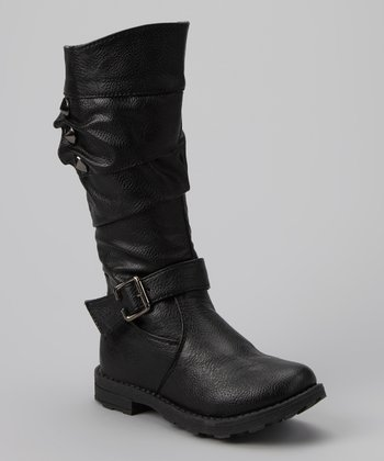 Black Studded Slouch Boot