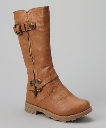 Camel Stud & Buckle Boot