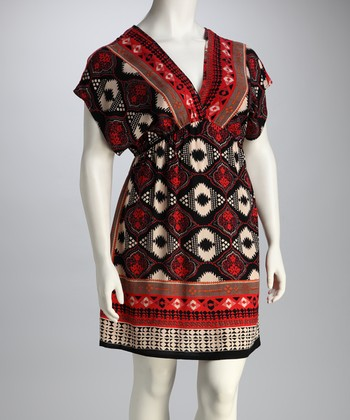 Angie Apparel Red Geometric Plus-Size Tunic
