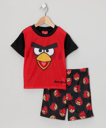 Red & Black Angry Bird Pajama Set - Boys