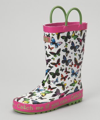 Pink 'Catch Me' Butterfly Rain Boot