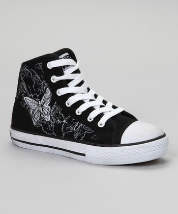 Black Monarch Butterfly Hi-Top Sneaker