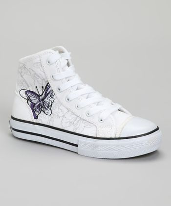 White Monarch Butterfly Hi-Top Sneaker