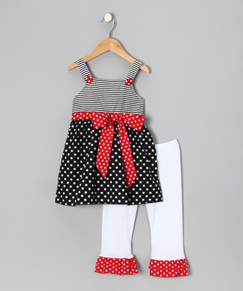 Black Polka Dot Top & White Ruffle Pants - Toddler & Girls