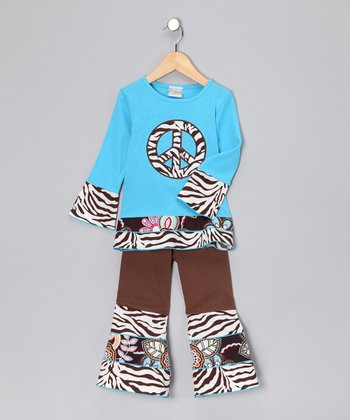 Blue Peace Top & Brown Ruffle Pants - Toddler & Girls