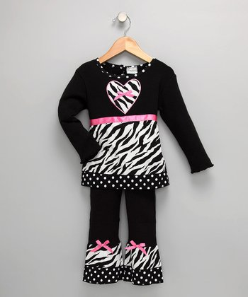 Black Zebra Heart Tunic & Ruffle Pants - Toddler & Girls