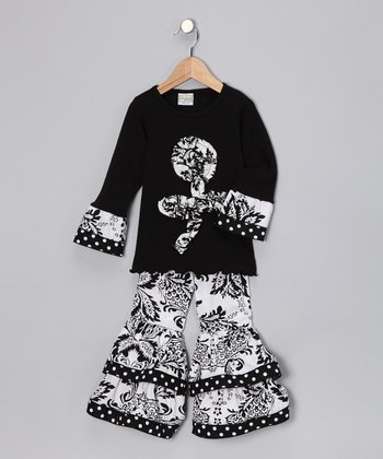 Black & White Floral Dana Tunic & Ruffle Pants - Toddler & Girls