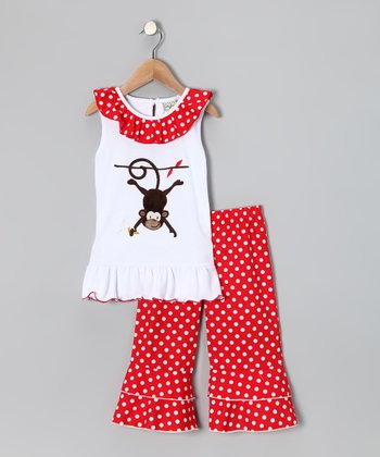 White Monkey Top & Red Ruffle Pants - Infant, Toddler & Girls