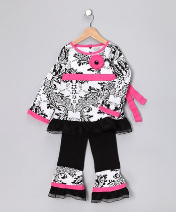 Pink Damask Paula Tunic & Ruffle Pants - Toddler & Girls