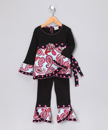Blue & Red Paige Tunic & Pants - Toddler & Girls