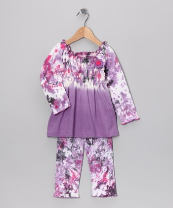 Purple Tie-Dye Tunic & Leggings - Toddler & Girls