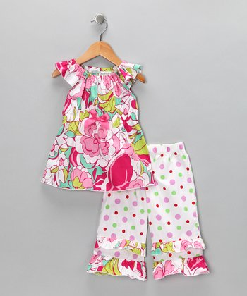 Pink & Green Floral Top & Ruffle Pants - Toddler & Girls