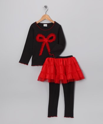 Black & Red Bow Top & Skirted Leggings - Toddler