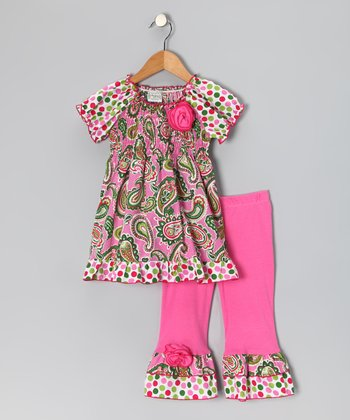 Pink Paisley Smocked Top & Ruffle Pants - Girls