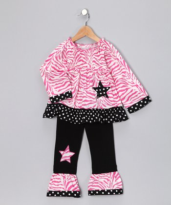 Pink & Black Zebra Star Top & Ruffle Pants - Toddler