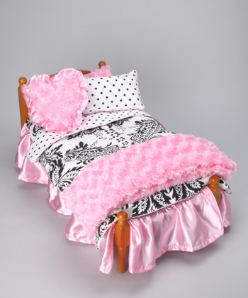 Pink & White Damask Doll Bedding Set