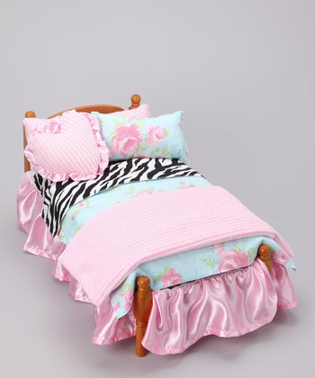 Pink Zebra Doll Bedding Set