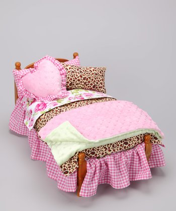 Pink Leopard Doll Bedding Set