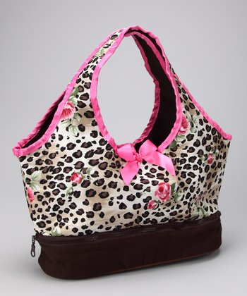Tan & Pink Leopard Doll Carrier